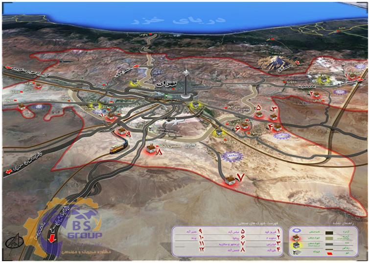 نقشه استقرار شهرک های صنعتی در استان تهران